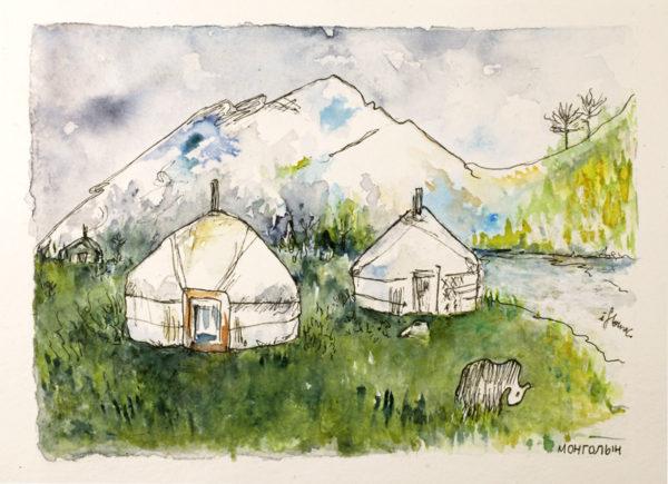 Khövsgöl, dessin à l'encre, Isabelle FLourac - Illustration représentant un camp de yourtes et un Yack à Khövsgöl en Mongolie. Couleurs vertes.