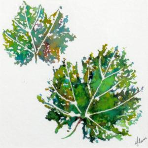 Miniature Dessin original à l'encre - Feuilles vertes, Isabelle Flourac, 50 €