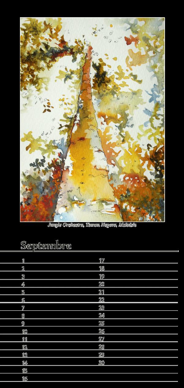 Calendrier perpétuel d'anniversaire - Arbre du monde entier. Illustration du mois de septembre : Jungle Orchestra. Isabelle Flourac