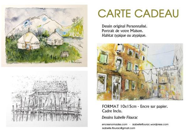 Carte cadeau, dessin à l'encre ou aquarelle, commande habitat atypique. Isabelle Flourac