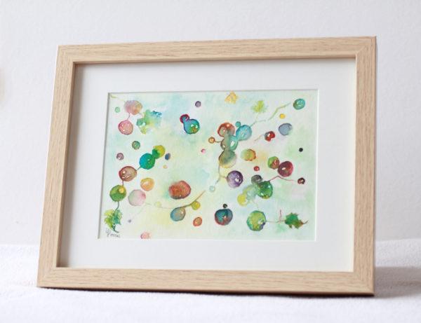 Du vent dans les vignes, dessin de grappes s'envolant, encres de couleur, photo dessin encadré, cadre en bois, Isabelle Flourac