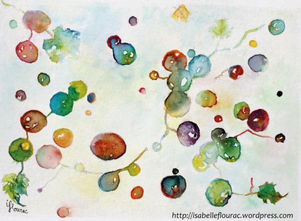 Du vent dans les vignes, dessin de grappes s'envolant, encres de couleur, Isabelle Flourac