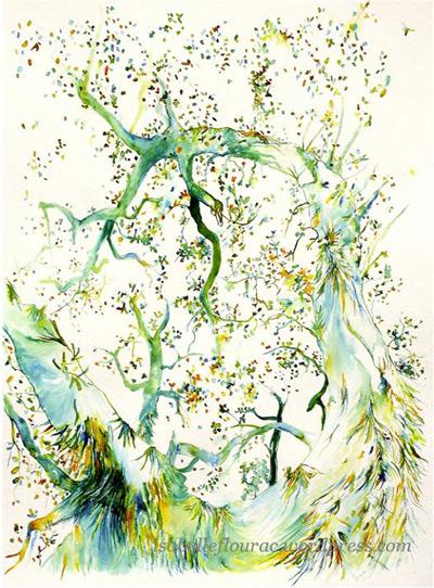 En cascade, dessin à l'encre de couleur, Isabelle Flourac. Dessin d'arbre grand format