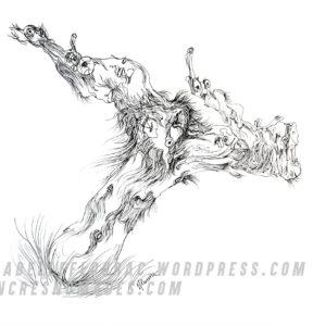 Le sorcier, dessin à l'encre, Isabelle Flourac. Personnage cep dans les vignes.