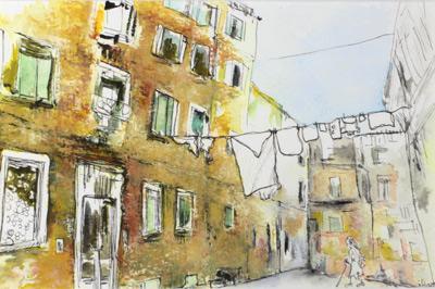Midi à Venise, dessin techniques mixte Pastel aquarelle encre, Isabelle Flouracs