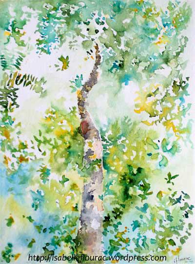 Un arbre dans la jungle, Dessin à l'encre, Isabelle Flourac. Dessin inspiré par la forêt du Taman Negara en Malaisie