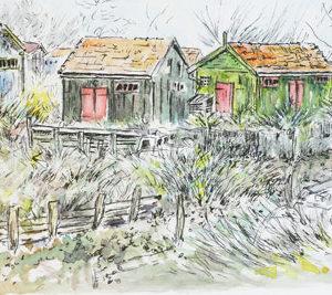 Couleurs cabanes, dessin à l'encre et aquarelle, Isabelle Flourac, Cabane du château d'Oléron
