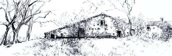La grange, dessin à l'encre de Chine, Isabelle Flourac. Grange vendéenne typique.