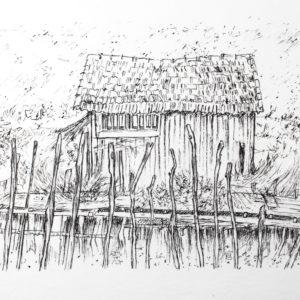 La Baudissière, cabane de la Baudissière au Chateau d'Oléron, route des huitres, sur l'île d'Oléron. Dessin au rotrin sur papier aquarelleg, Isabelle Flourac