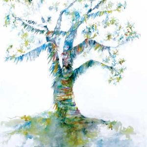 L'arbre à prières, dessin à l'encre Isabelle Flourac - Arbre inspiré des rituels chamaniques, arbre à voeux.