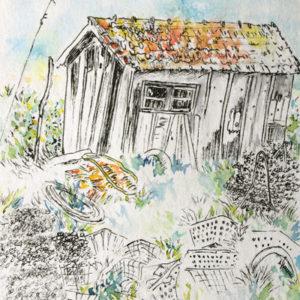 Ostréicoles, dessin encres et aquarelle, Isabelle Flourac, cabane de la Baudissière au Château d'Oléron