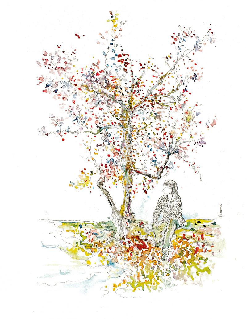 Illustration arbre de Nara, cerisier à l'automne, Japon, Isabelle Flourac, dessin à l'encre